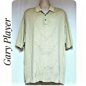 Men's Polo Shirt Pale Yellow with Stripes Size 1X